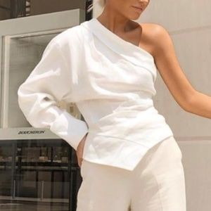 Zara Off-White Asymetrical One Shoulder Top